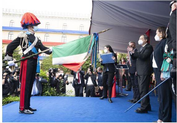 Italia: Il Presidente Draghi alla cerimonia per il 207° Annuale di Fondazione dell'Arma deiCarabinieri