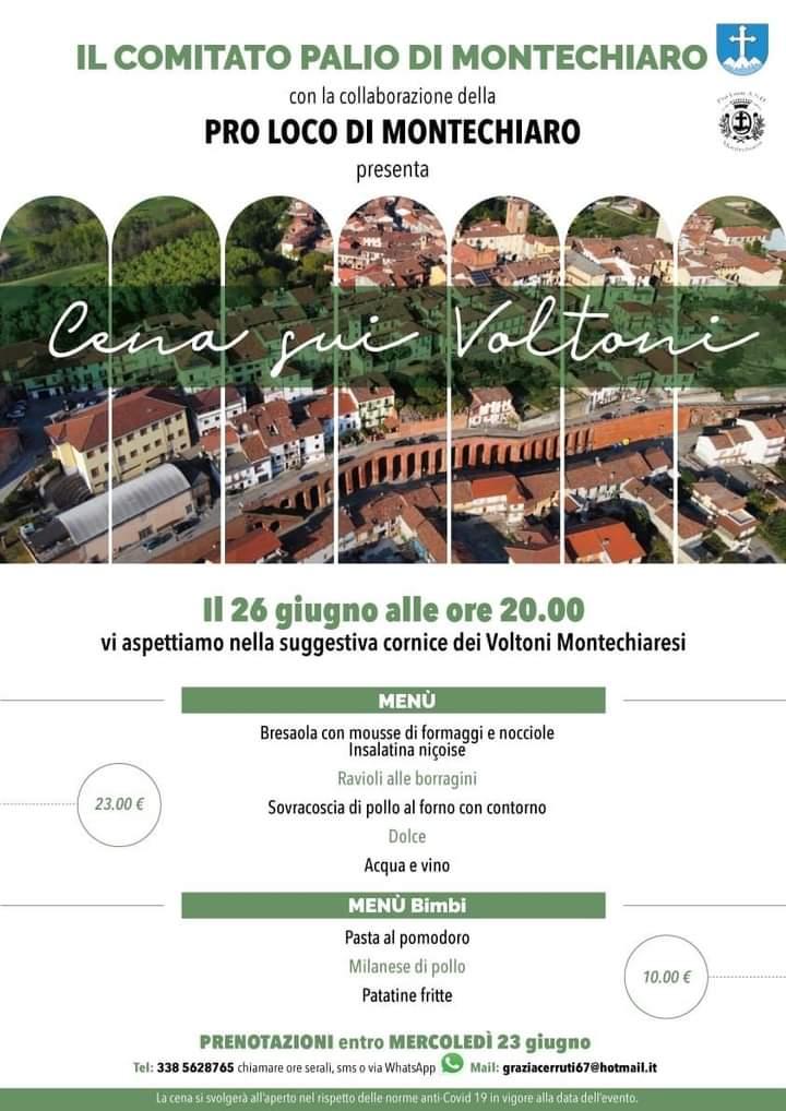 "Palio di Asti, Comitato Palio Montechiaro: Oggi 26/06 ""Cena suiVoltoni"""