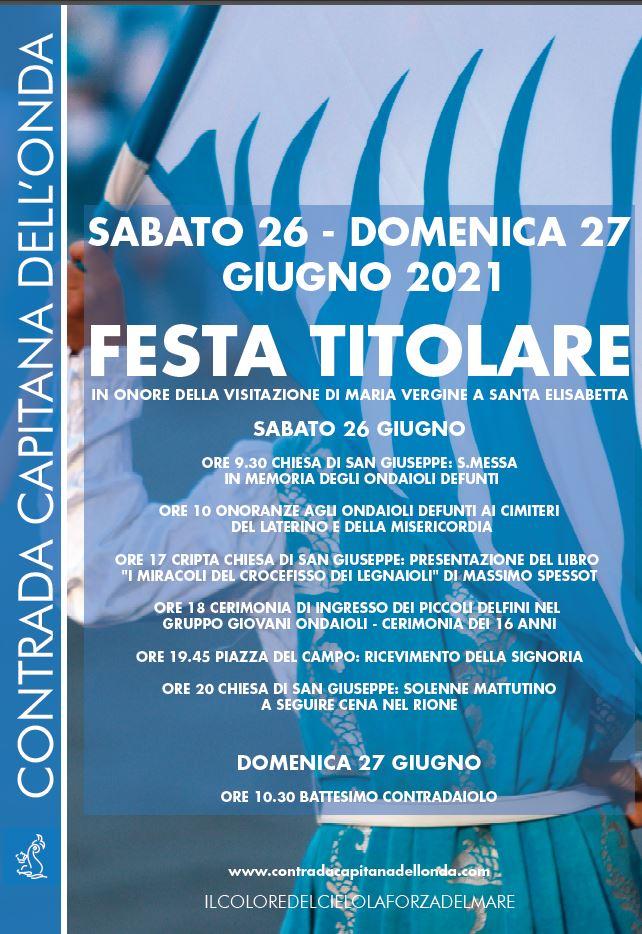 Sirena, COntrada dell'Onda: 26-27/06 Programma FestaTitolare
