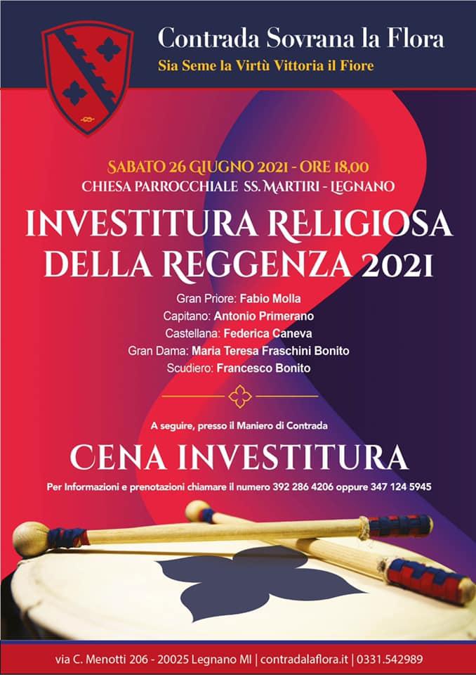 Palio di Legnano, Contrada La Flora: 26/06 Investitura Reggenza e CenaInvestitura
