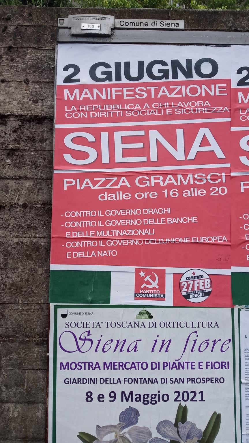 Siena: 2 giugno manifestazione del Partito Comunista in PiazzaGramsci