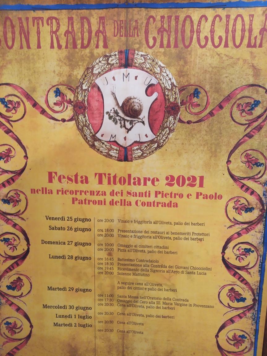 Siena, Contrada della Chiocciola: Programma Festa Titolare2021