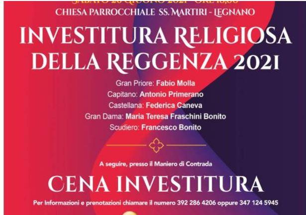 Palio di legnano: Investitura reggenza contrada La Flora, sabato 26 giugno, nella chiesa Santi Martiri aLegnano