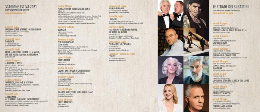 Siena: A partire da lunedì 21/06 sarà possibile acquistare i biglietti per gli spettacoli di #EstateEventi2021