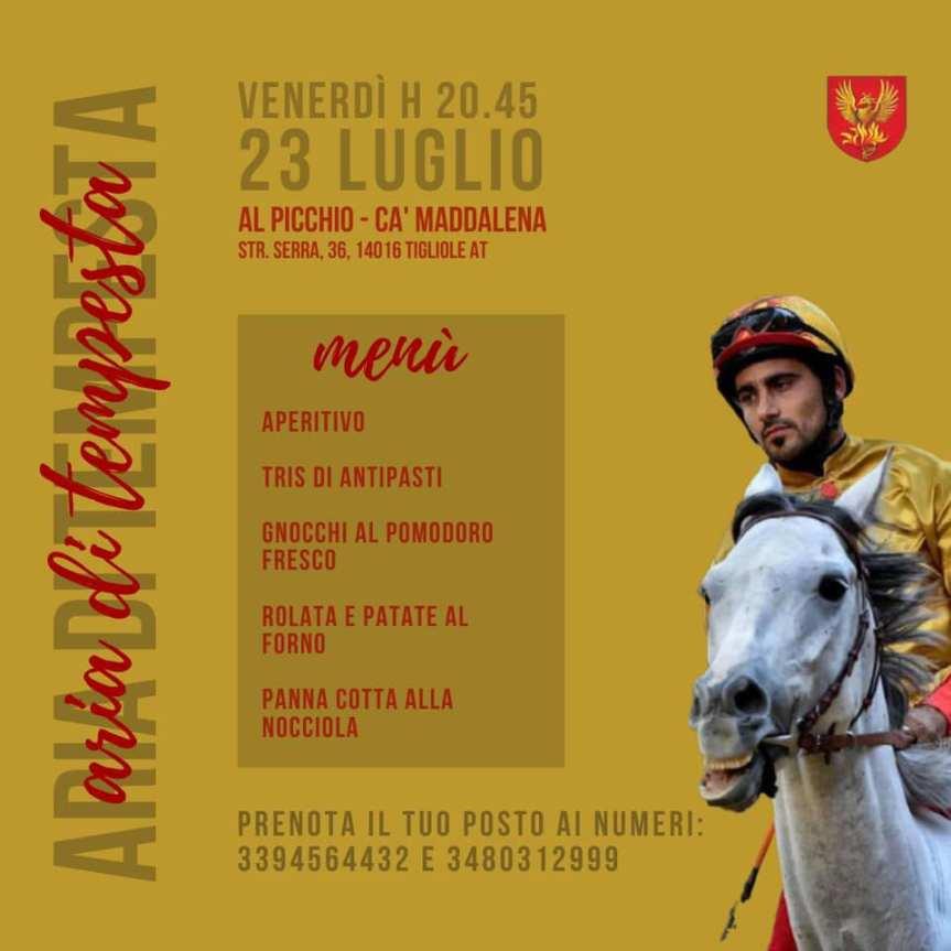 """Palio di Asti, Rione San Paolo: 23/07 """"Aria di Tempesta"""", presentazione Andrea Coghe detto """"Tempesta"""""""