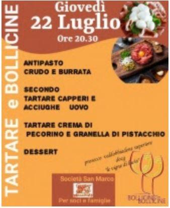 """Siena, Contrada della Chiocciola: 22/07 Cena """"Tartare e Bollicine"""" all'Oliveta"""