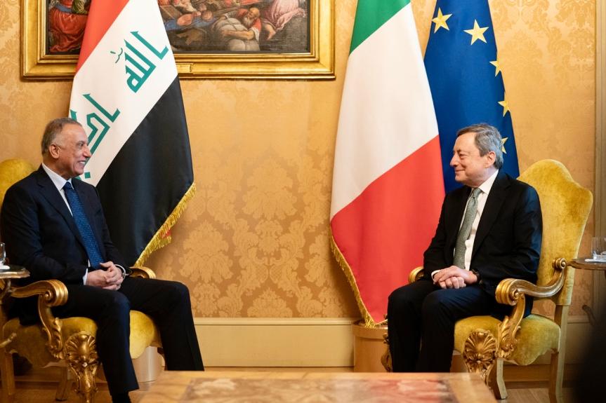 Italia: Il Presidente Draghi incontra il Presidente del Consiglio della Repubblica dell'Iraq, MustafaAl-Kadhimi