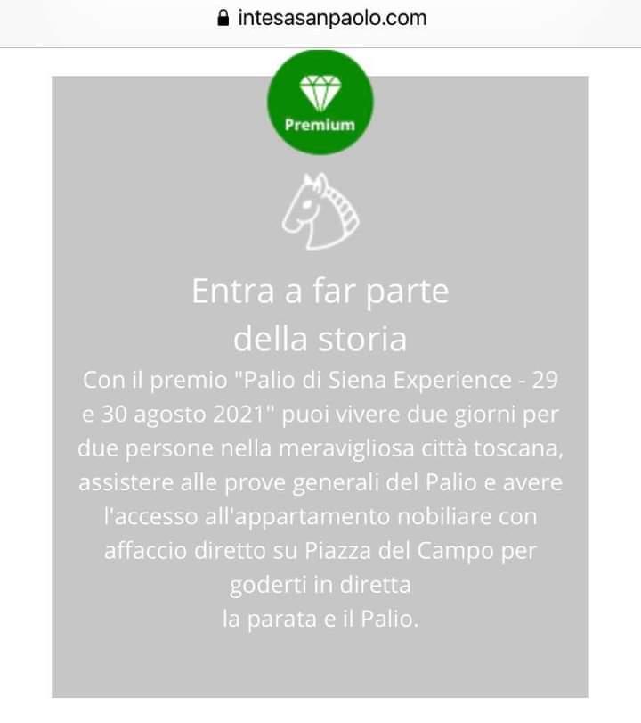 """Palio di Siena: """"Vinci una due giorni al Palio il 29 e 30 agosto 2021"""": banca mette in premio il """"rito""""senese"""