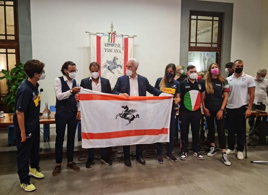 """Toscana, Olimpiadi, Giani: """"Agli atleti la bandiera della Toscana, onorate lo sport e la nostraregione"""""""