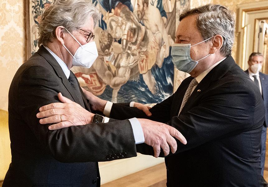 Italia: Il Presidente Draghi incontra il Commissario europeoBreton