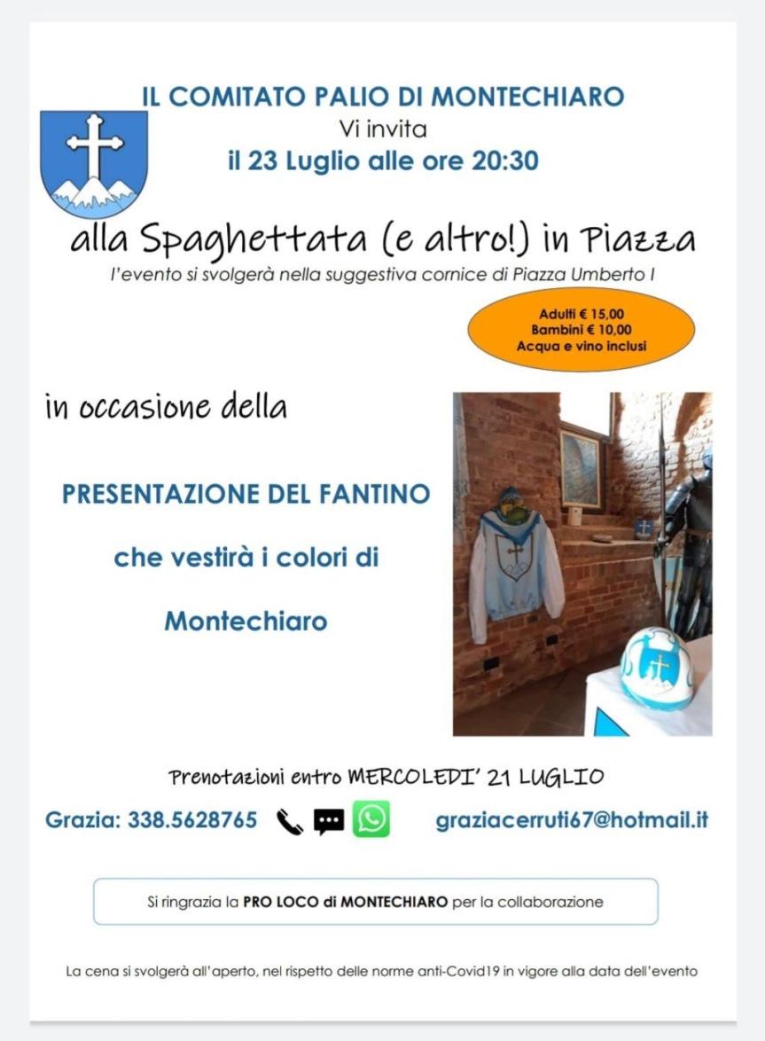 Palio di Asti, Comitato Palio Montechiaro : Venerdì 23/07 sera la presentazione di JonatanBartoletti