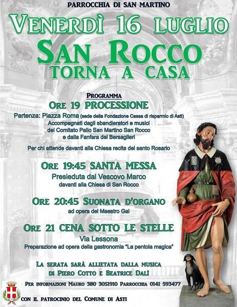 Palio di Asti: Il 16/06  la statua di San Rocco torna acasa