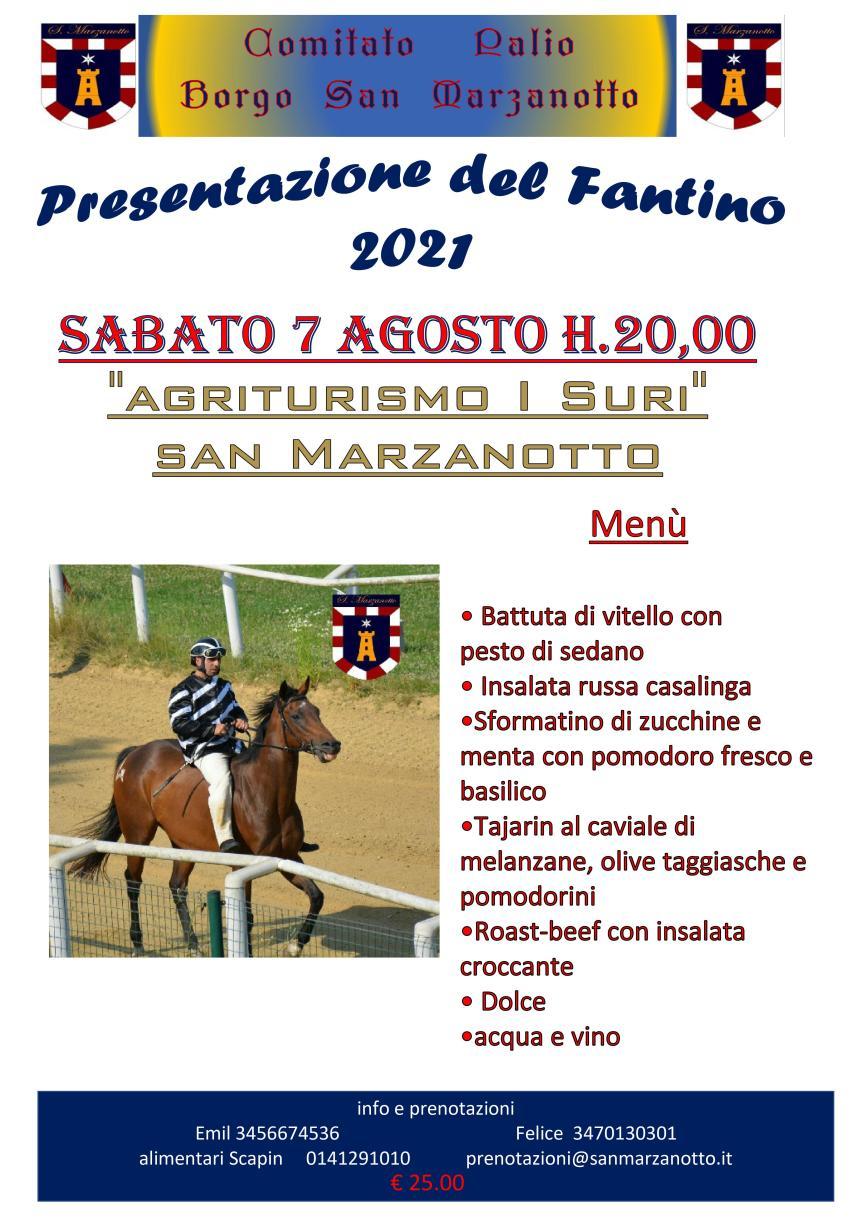 Palio di Asti, Comitato Palio San Marzanotto: 07/08 Presentazione Fantino DonatoCalvaccio