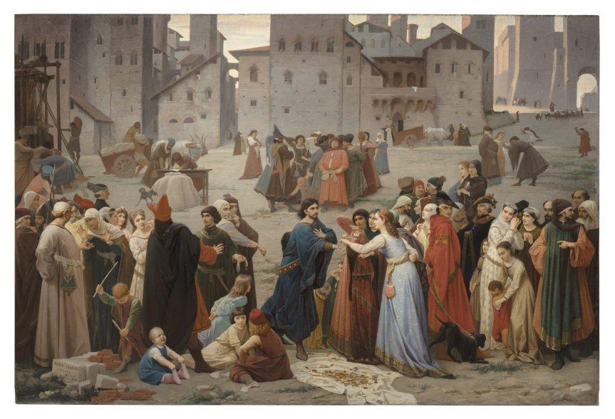 """Siena: Fino al 03/10 Esposizione dipinto di Amos Cassioli """"Provenzan Salvani nella Piazza del Campo in atto di raccogliere elemosine per trar l'amico suo dipena"""""""