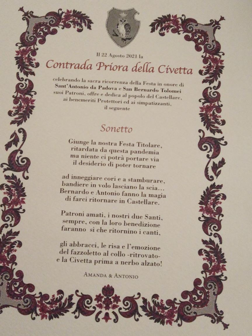 Palio di Siena, Contrada della Civetta: Oggi 22/08 il Giro di Onoranze, questo ilsonetto