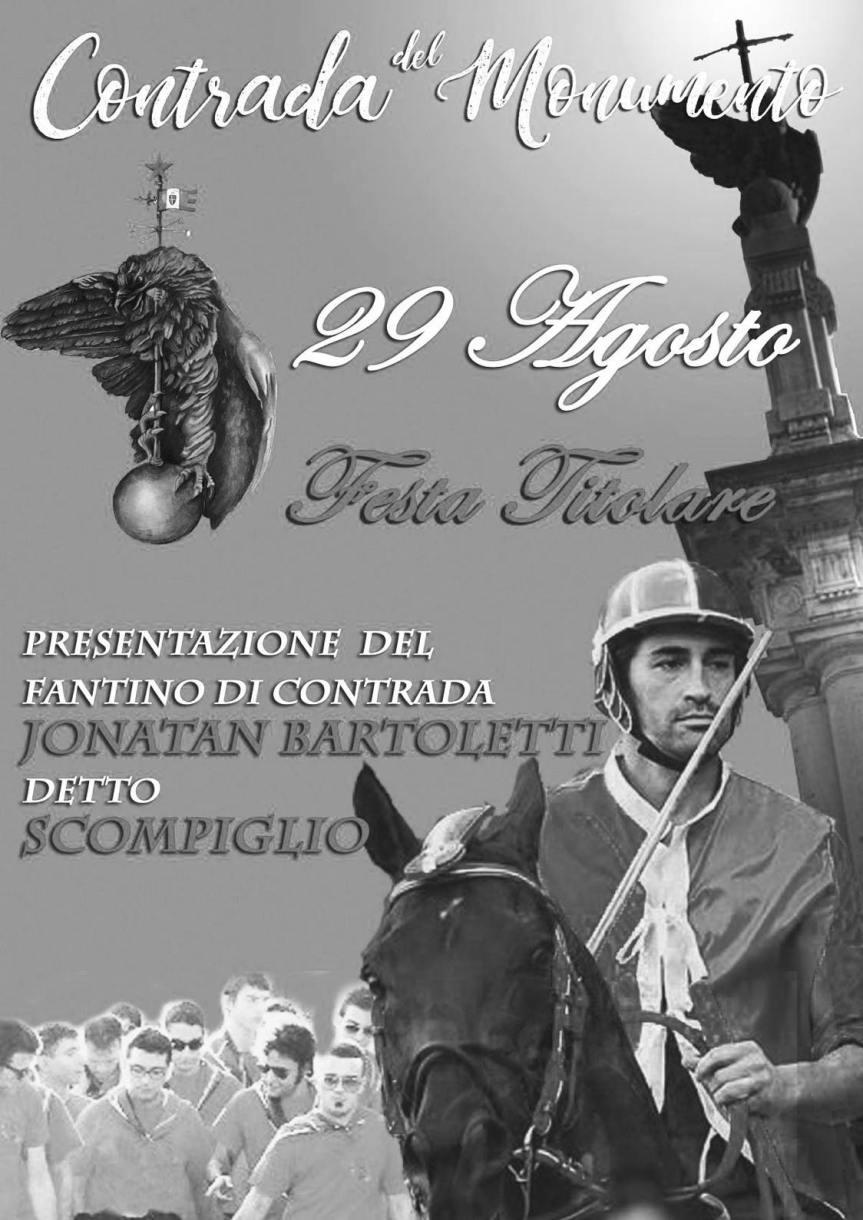 Palio di Castel del Piano, Contrada Monumento: 29/08 Festa Titolare e Presentazione Jonatan Bartoletti fantino Palio2022