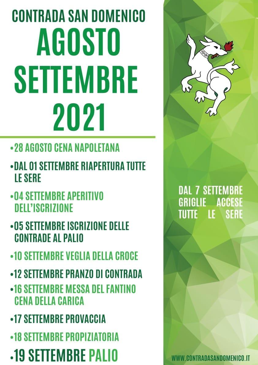 palio di Legnano, Contrada San Domenico: Programma attività mese di Settembre 2021. Il Green Pass saràobbligatorio