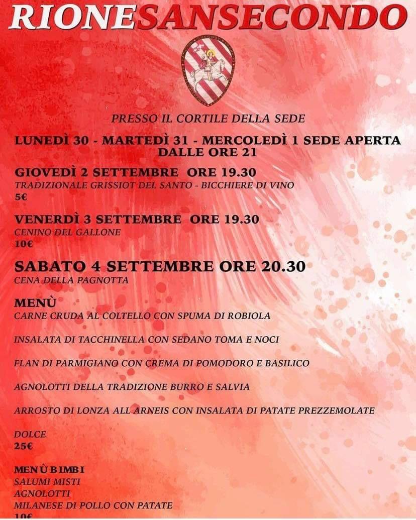 Palio di Asti, Comitato Palio Rione San Secondo: 30/08-04/09 Il programma dellasettimana