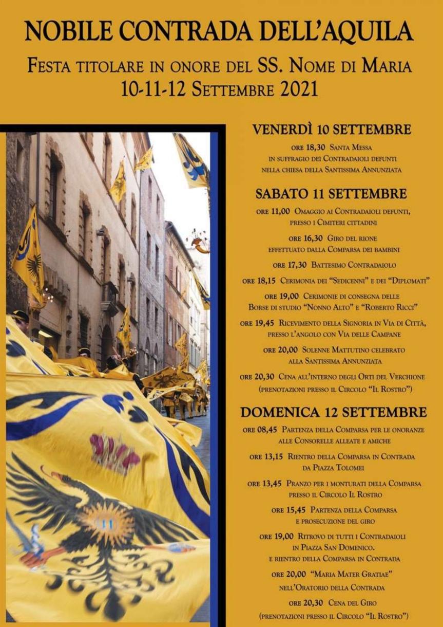 Siena, Contrada dell'Aquila: Oggi 11/09 Festa Titolare, domani 12/09 Giro di Onoranze alleConsorelle