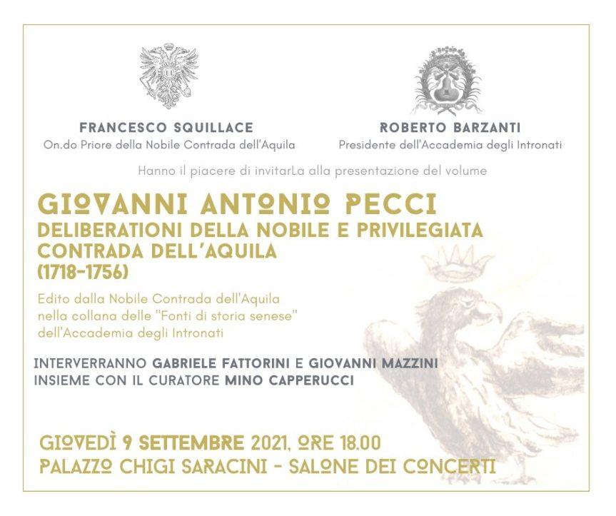 """Siena, Contrada dell'Aquila: oggi 09/09 presentazione libro Giovanni Antonio Pecci """"Ddeliberationi delle  Nobile e Privilegiata Contrada dell'Aquila ( 1718-1756)"""