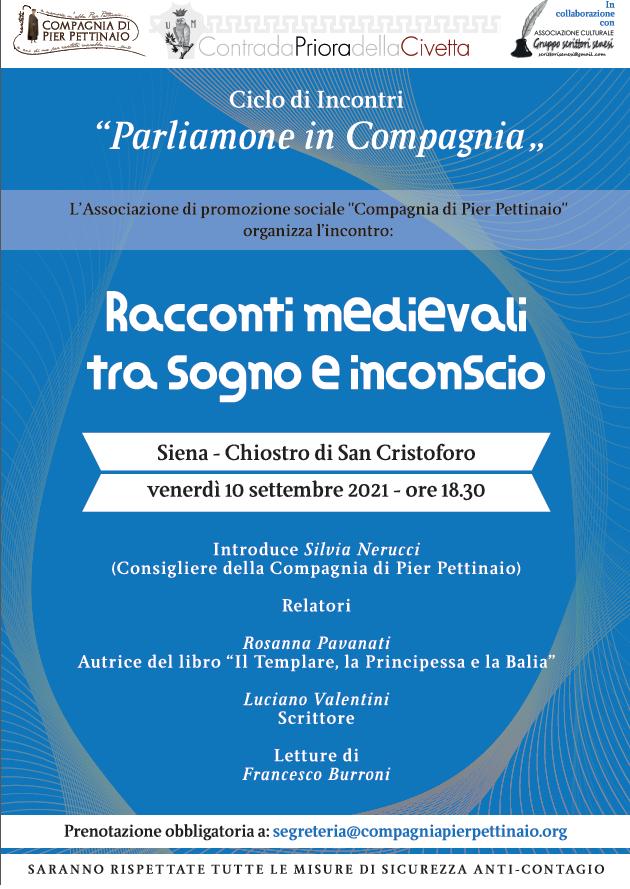 """Siena, Contrada della Civetta: 10/09  """"Racconti Medievali tra sogno einconscio"""""""