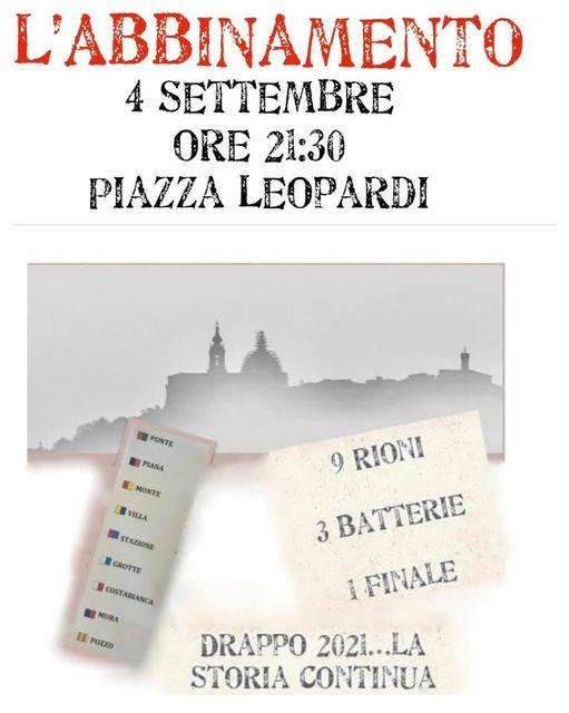 Corsa del Drappo Loreto: Oggi 04/09 AbbinamentoCavalli-Rioni