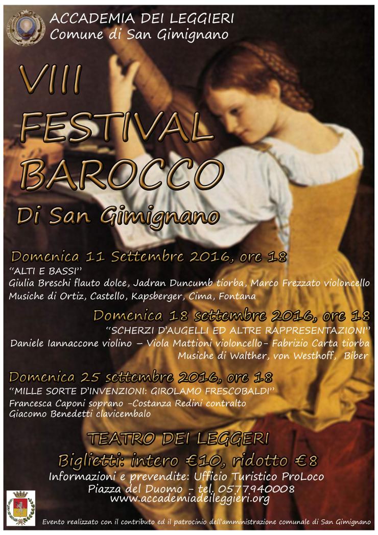 Provincia di Siena: Al via la XII edizione del Festival Barocco di SanGimignano