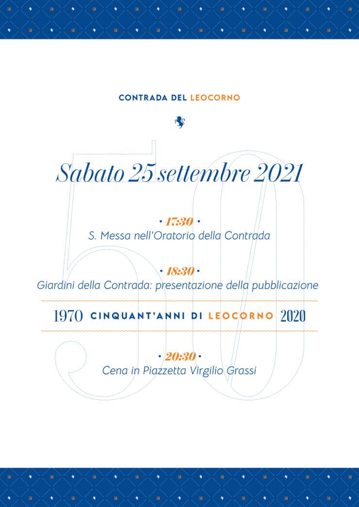 """Siena, Contrada del Leocorno: 25/09 Presentazione pubblicazione """"1970-2020 50 anni diLeocorno"""""""