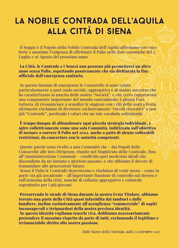 """Palio di Siena, Contrada dell'Aquila, Il messaggio della Contrada: """"Abbandoniamo gli individualismi per tornare a correre ilPalio"""""""