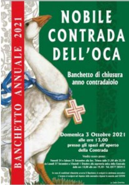 Siena, Contrada dell'Oca: 03/10 Banchetto Chiusura AnnoContradaiolo