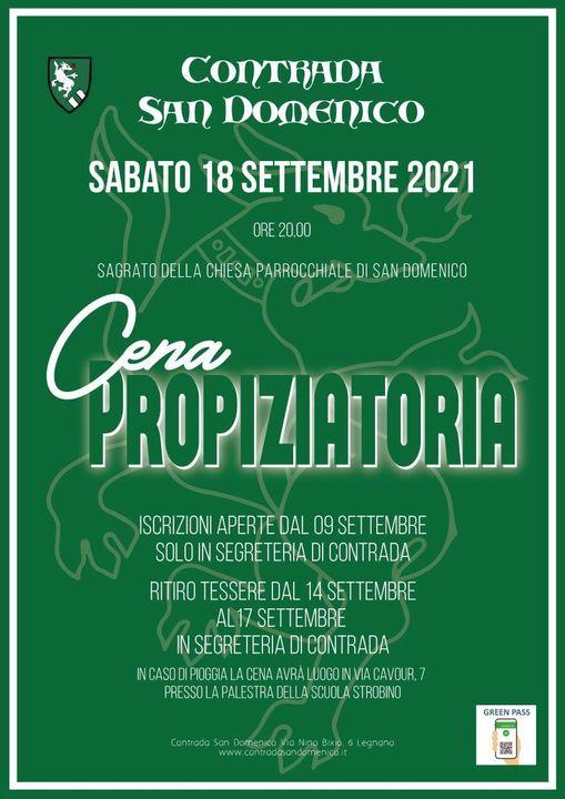 Palio di Legnano, Contrada San Domenico: 18/09 CenaPropoziatoria