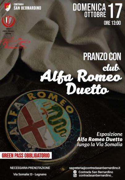 Palio di Legnano, Contrada San bernardino: 17/10 Pranzo con Club Alfa RomeoDuetto