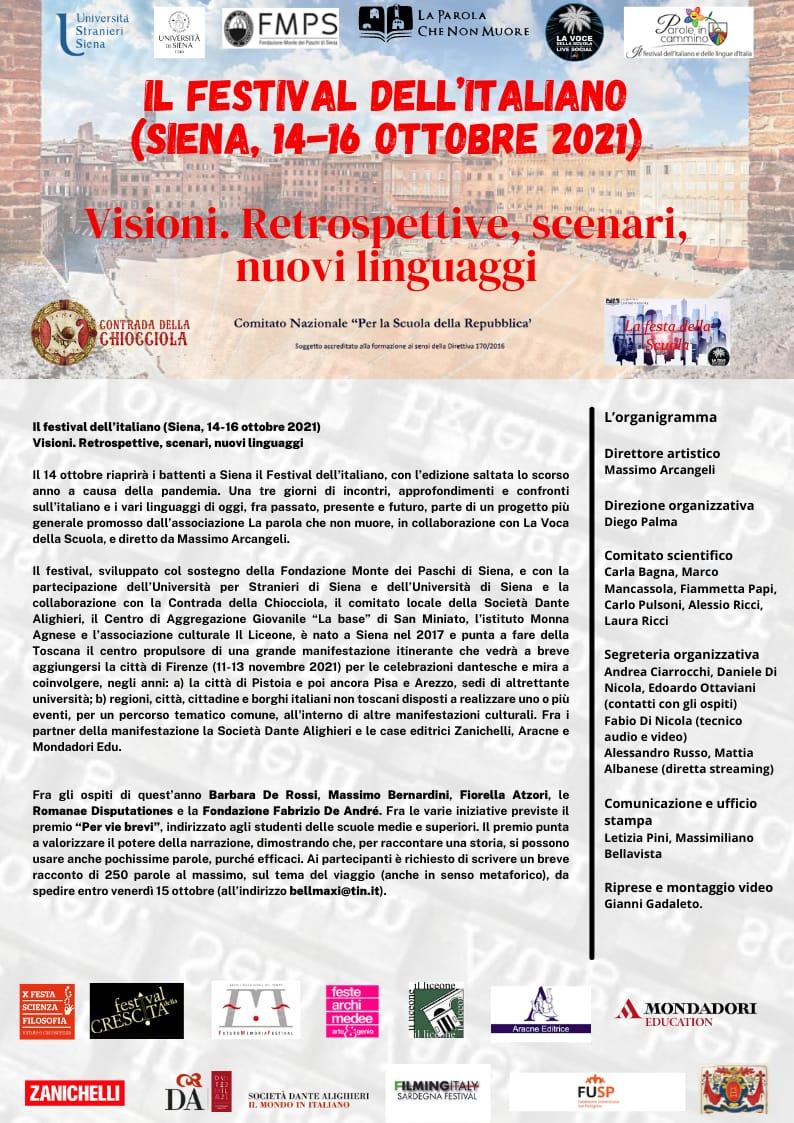 Siena: Il Premio Visioni del Festival dell'Italiano a Barbara De Rossi e MassimoBernardini